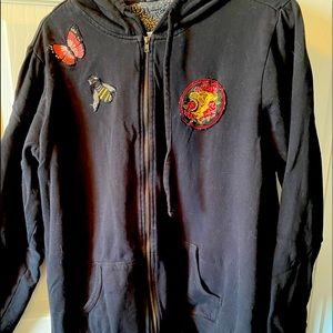 Black hoodie with design patches great condition